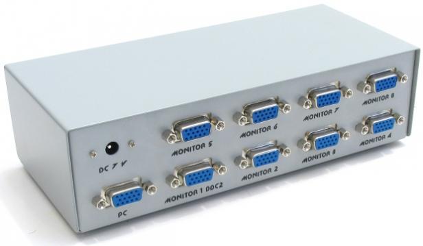 Разветвитель GVS128 Разветвитель сигнала VGA на 8 мониторов (Gembird) - Omega electronics