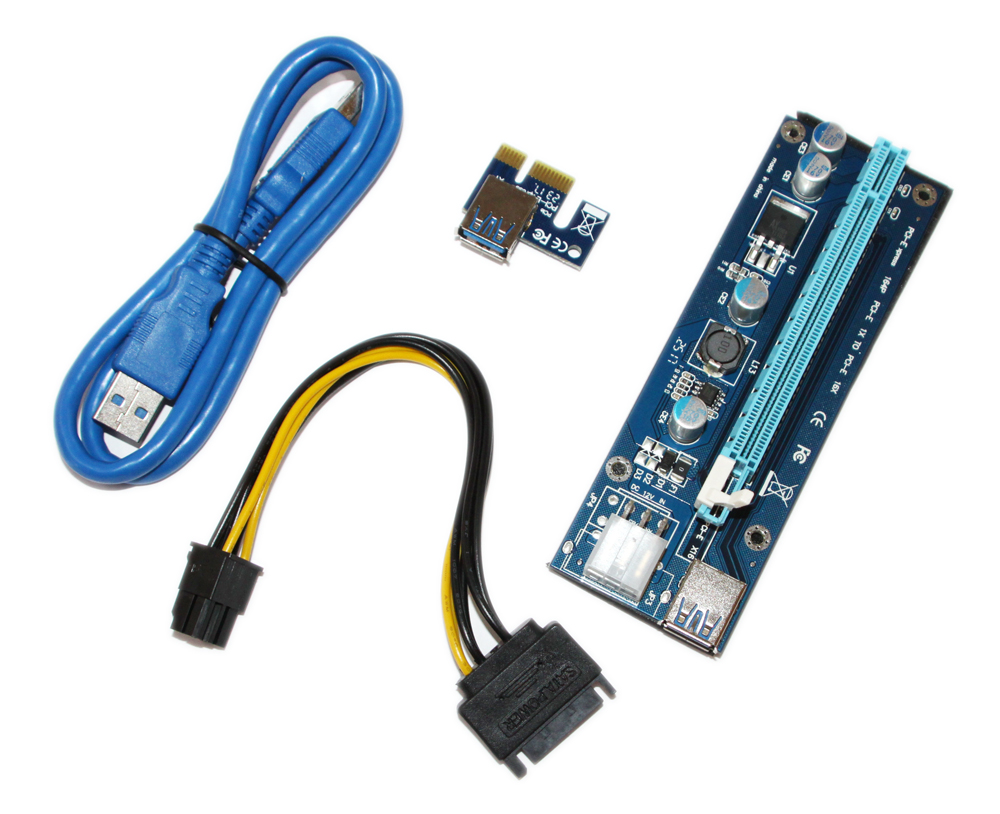 Фото товара: Райзер RX-riser-006c 6 pin PCI-E x1 to 16x 60cm USB 3.0 Cable SATA to 6Pin Power v.006C Blue
