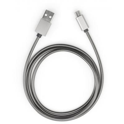 Фото товара: Дата кабель USB 2.0 AM to Micro 5P 1m stainless steel gray Vinga (VCPDCMSSJ1GR)